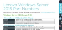 Lenovo ROK Windows Server 2016 Part Numbers